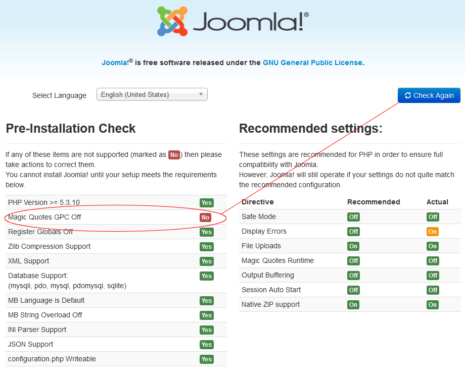 Joomla Installer Magic Quotes Stopping Installation