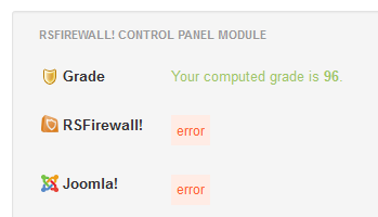 RSFirewall Control Panel Module Error
